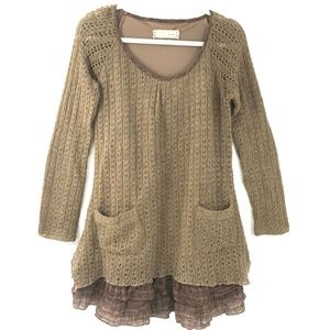 A'Reve Layered Knit Sweater Skirted Tunic ANTHRO